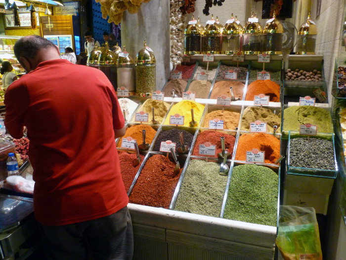 Vendor at the appropriately named Spice Bazaar