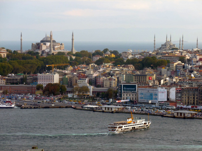 Looking over to Hagia Sophia and the Blue Mosque from Galata Tower