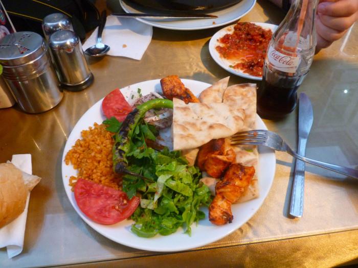 A chicken shish kebab meal. Yum.