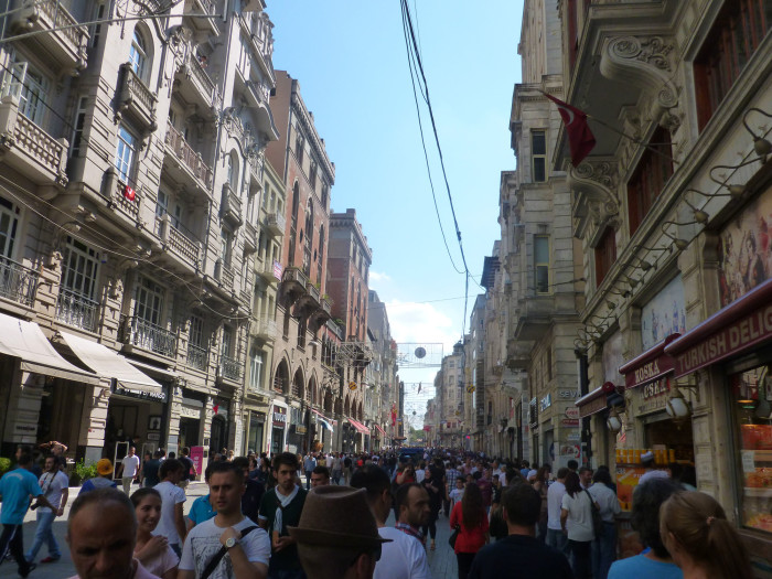 Istiklal Caddesi, one of Istanbul's main streets. 3 million people apparently visit the street each Saturday and Sunday.