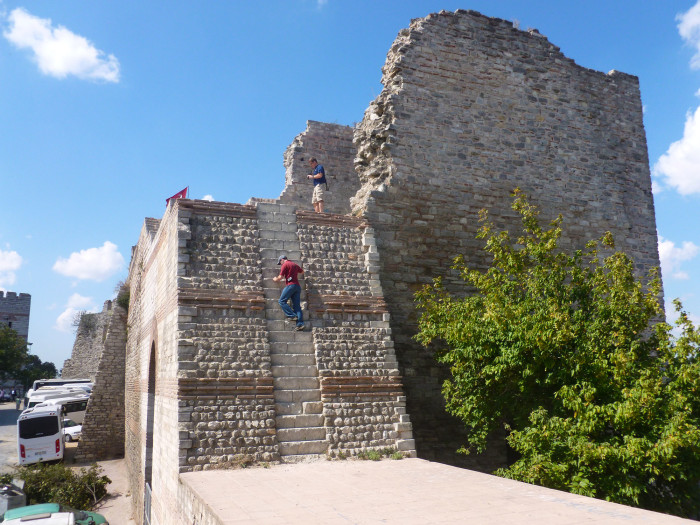 Trevor climbing a surprisingly steep section of the famous walls of Constantinople