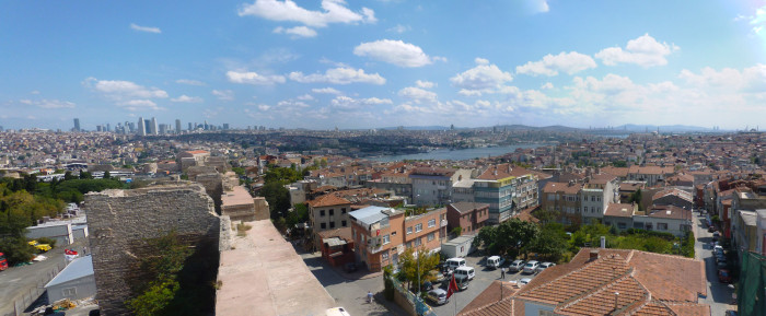 Looking out at the city from the top of the old city wall