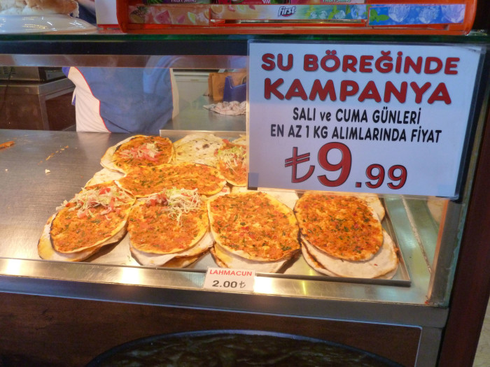 Lahmacun, a kind of thin Turkish pizza