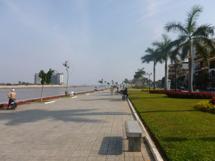 Some of my favorite moments in the city were walking along the riverfront promenade thing. The weather was absolitely perfect. The river is the Tonle Sap River, but it converges with the Mekong right in front of the building that's being constructed on the left side of the photo.