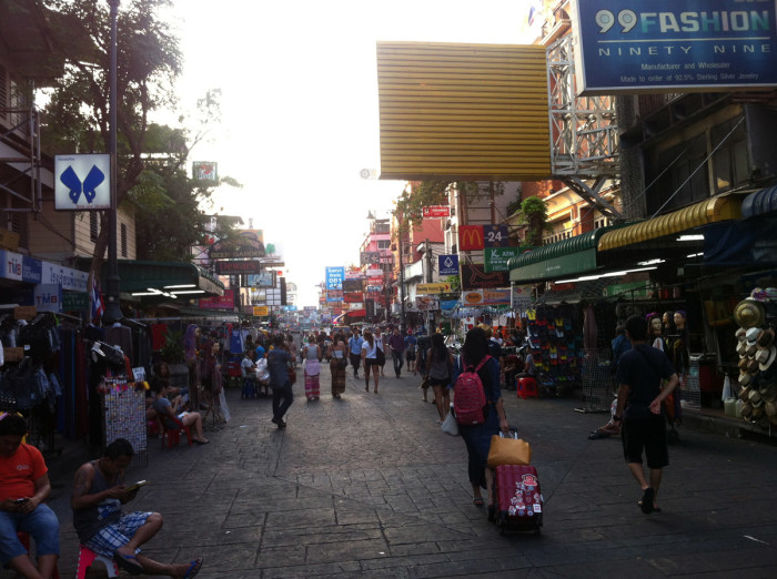 After exploring Wat Arun and Wat Pho, I had to go to world-famous Khao San Road to buy a bus ticket. Khao San is where all of the grubby backpackers stay, and it's gross.