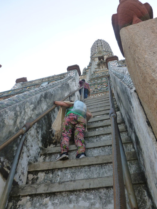 So the steps up the side of Wat Arun are the steepest I've ever seen on a building. They're actually pretty spectacular, and there's no way people would be allowed on them in the US.
