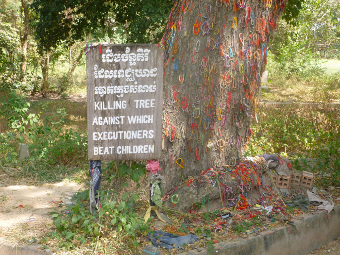 The killing tree. When the first people visited the site after the Khmer Rouge (the group that was responsible for the genocide) was pushed out of the area, the tree was covered in blood, hair, and brain matter.