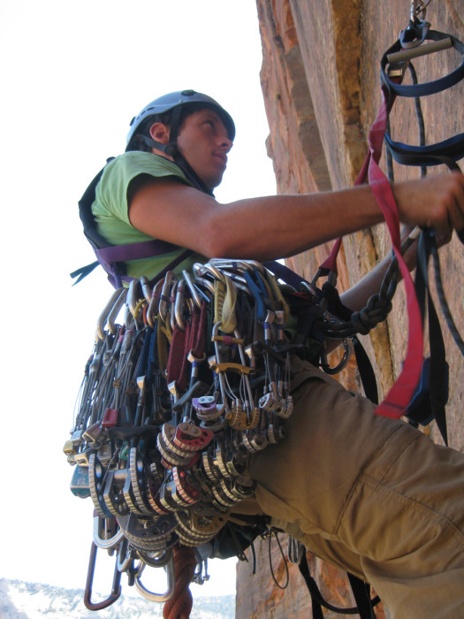 Me loaded down at the belay