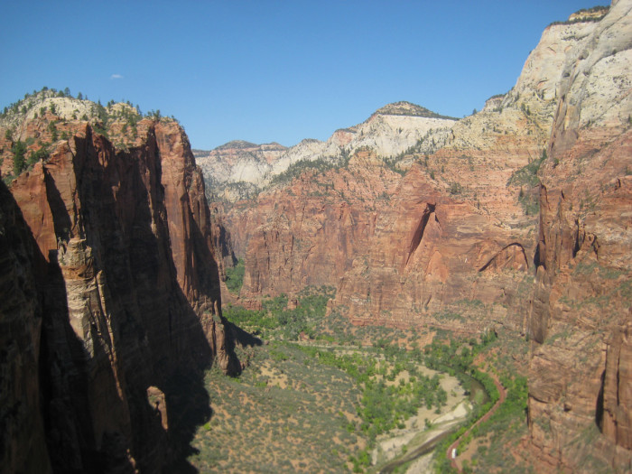 Looking up Zion Canyon. It's definitely one of the more spectacular climbing areas out there.