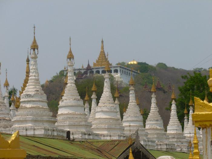 Looking up at Mandalay Hill from Kuthodaw Pagoda