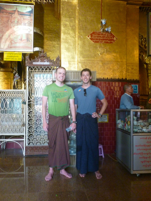Mike and me wearing the longyi, the traditional cylinder of garment that most Burmese men wear. We had to don them because we were wearing shorts, and they were inappropriate for going in to to see the golden buddha.