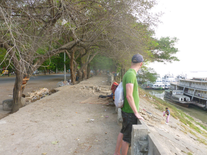 Mike on the bank of the Irrawaddy River.
