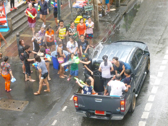 Some folks in Bangkok thoroughly enjoying the water festival