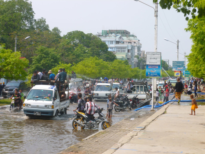 Water festival mayhem in Mandalay. Note how much water is in the street.