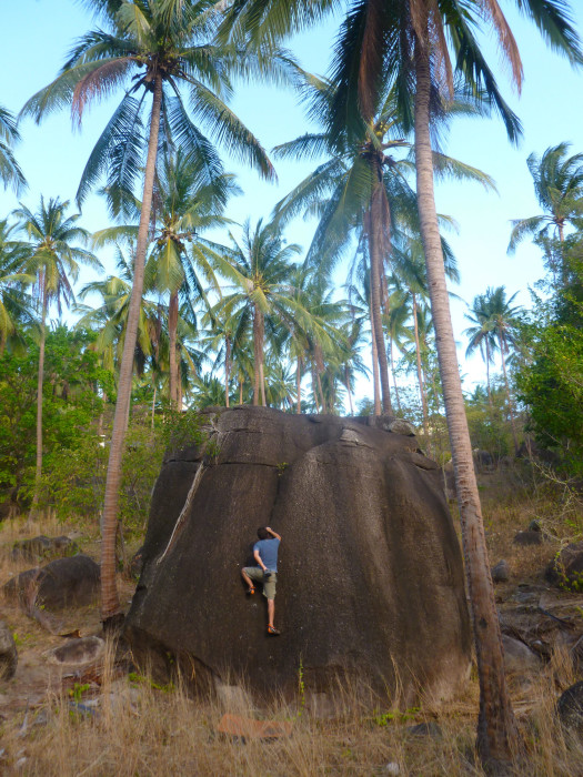 Me bouldering on Koh Tao. The rock was really rough, grainy granite.