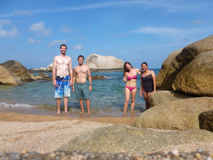 Hanging out at Tanote Bay. Great snorkeling. Fun cliff jumping (off the big rock in the middle of the background).