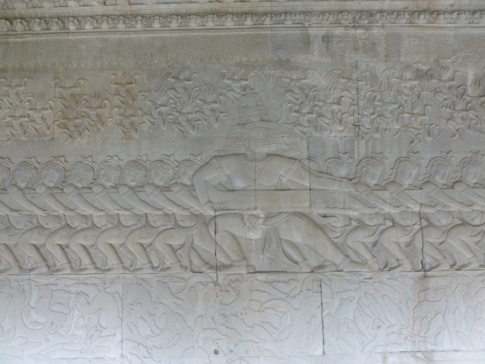 A close-up of the reliefs in one of the Angkor hallways