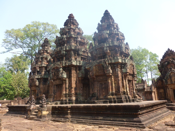 Banteay Srei, a 10th-century Cambodian temple dedicated to the Hindu god Shiva