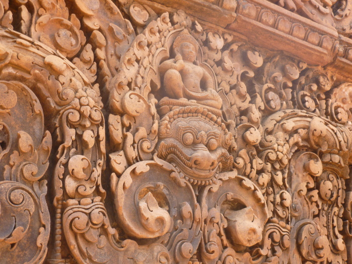 Detailed carvings in Banteay Srei
