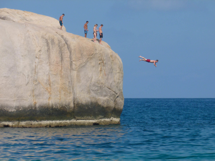 I jumped off of a couple big rocks on Koh Tao. I did not dive like this crazy guy.