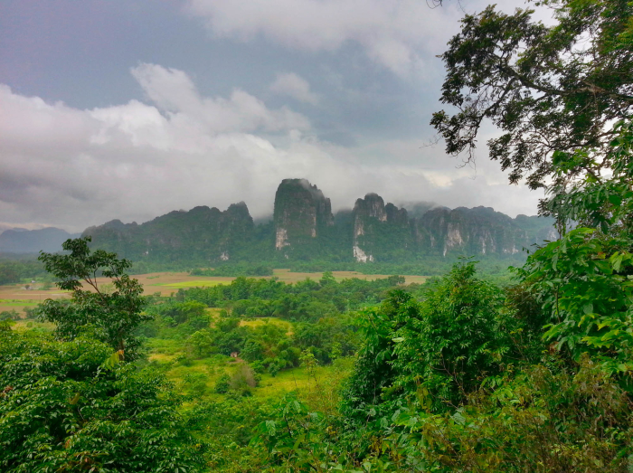 I saw the incredible Laotian countryside and went climbing there