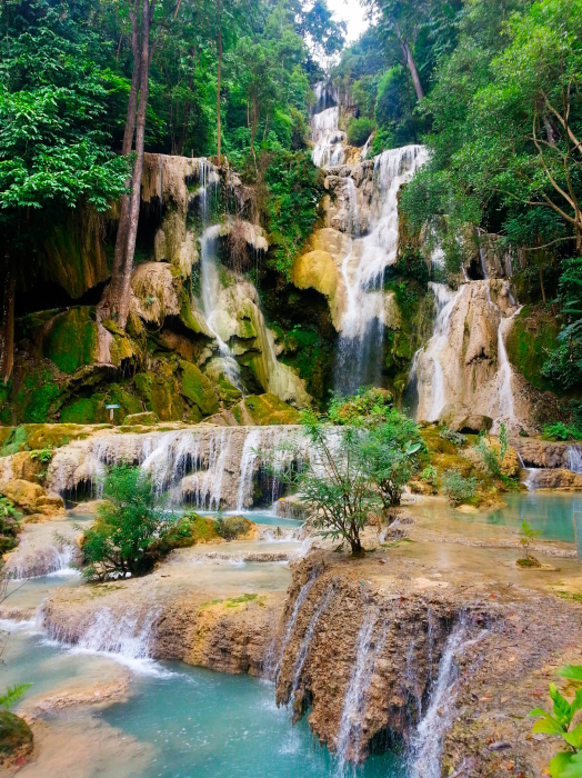 In Laos I saw the most beautiful waterfall I have ever seen and probably will ever see