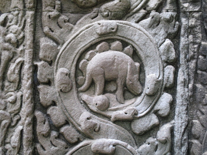 "This ""dinosaur"" carving at Ta Prohm (the Tomb Raider temple). It probabaly drives conspiracy theory folks nuts. I think it's a lizard."