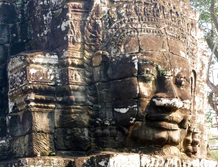 Above: At the temple of Bayon at Angkor, Cambodia.