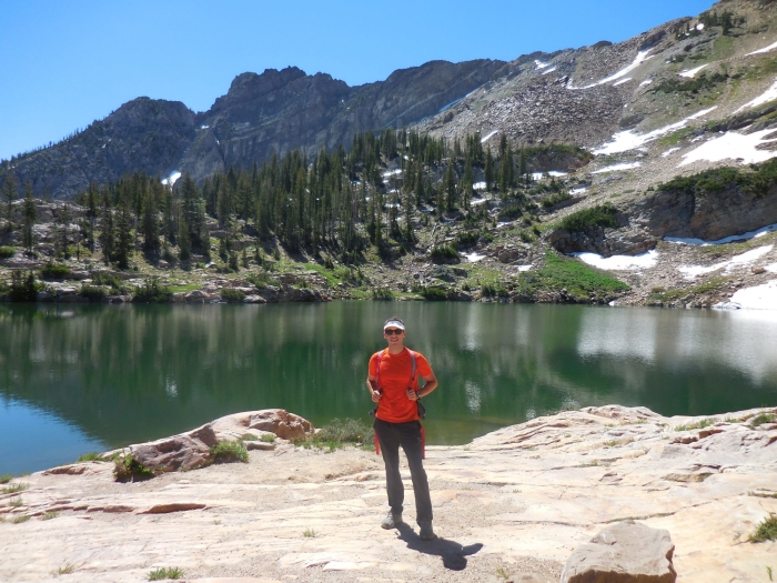 Me at Cecret Lake. Devils Castle is in the background.