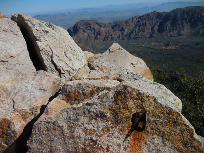 A rusty old quarter-incher on the summit of Emory Peak