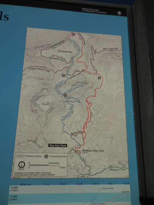 A map of the trails in the Chisos Mountains, including Emory Peak and the South Rim.