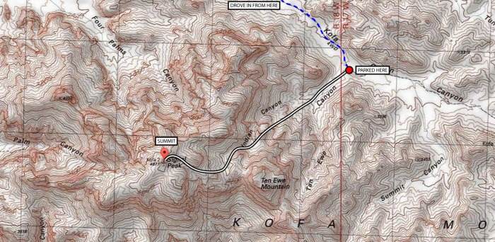 A very rough map of my route showing my very approximate line of ascent.