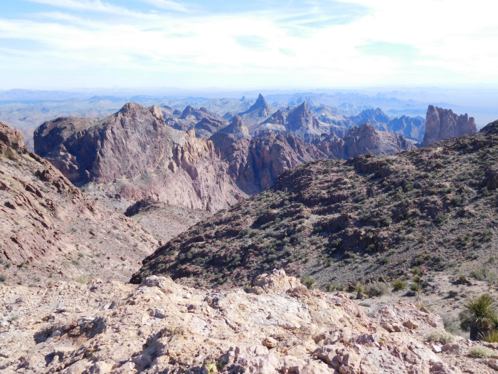 The view toward the rest of the Kofa Mountains from the summit